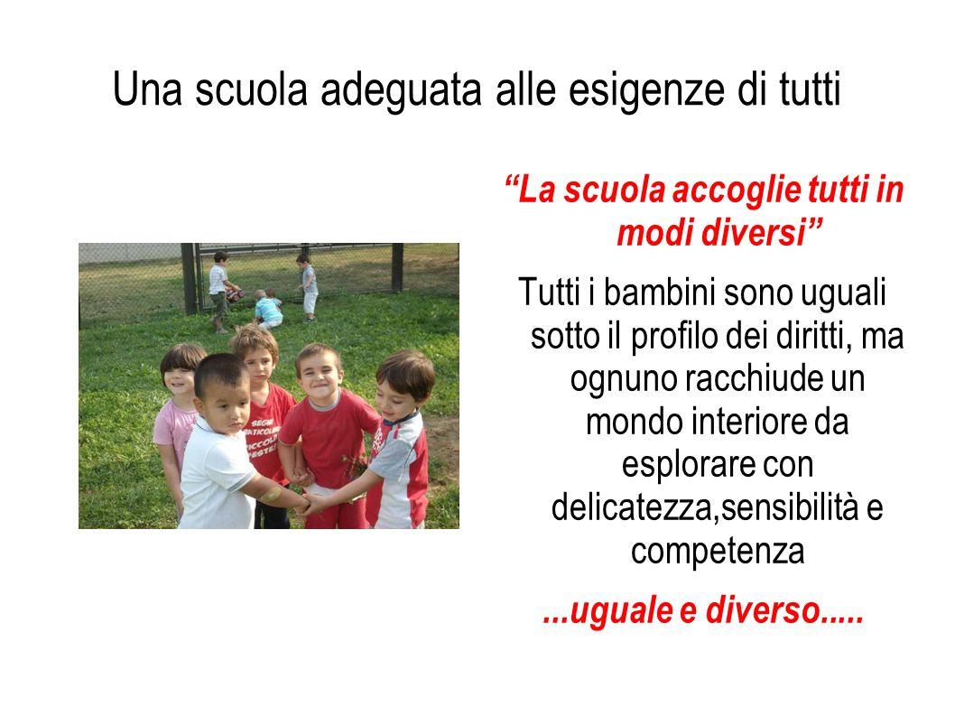 Una scuola adeguata alle esigenze di tutti La scuola accoglie tutti in modi diversi Tutti i bambini sono uguali sotto il profilo dei diritti, ma ognun