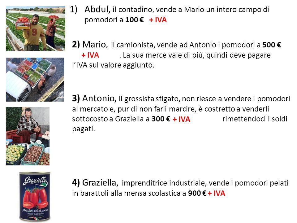 1)Abdul, il contadino, vende a Mario un intero campo di pomodori a 100 + 4 = 104 + IVA 2) Mario, il camionista, vende ad Antonio i pomodori a 500 + 20