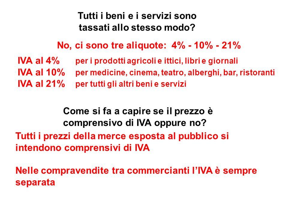 Tutti i beni e i servizi sono tassati allo stesso modo? No, ci sono tre aliquote: 4% - 10% - 21% IVA al 4% per i prodotti agricoli e ittici, libri e g