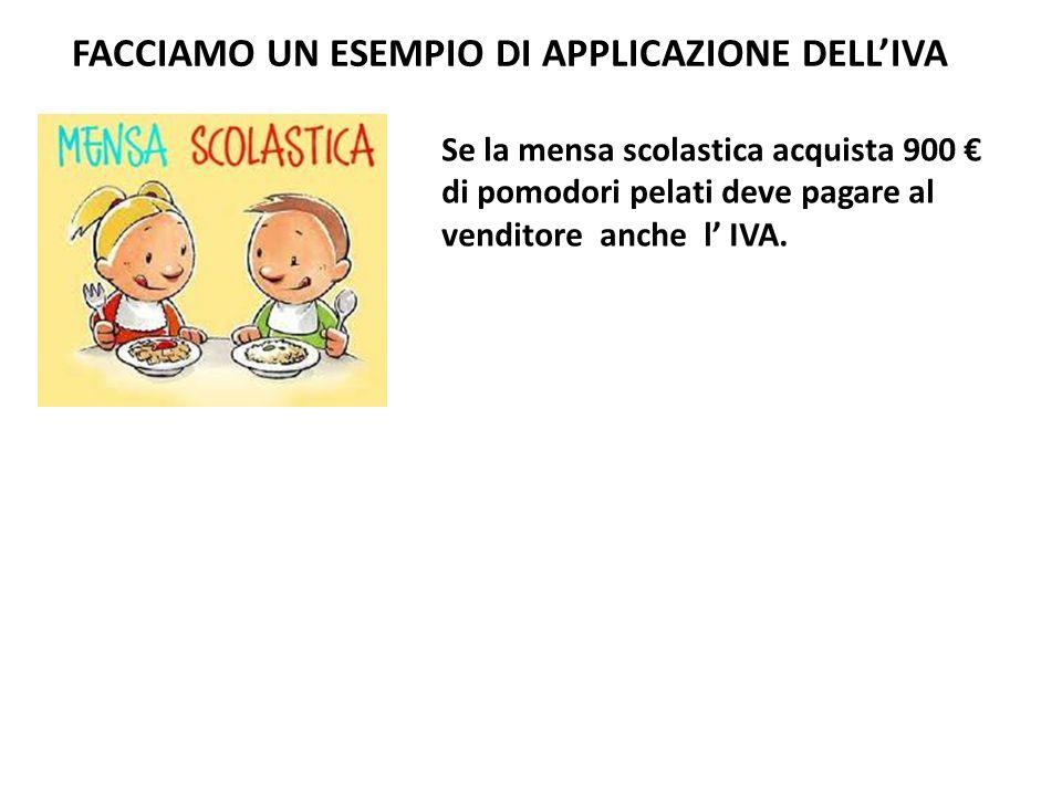 Se la mensa scolastica acquista 900 di pomodori pelati deve pagare al venditore anche l IVA.