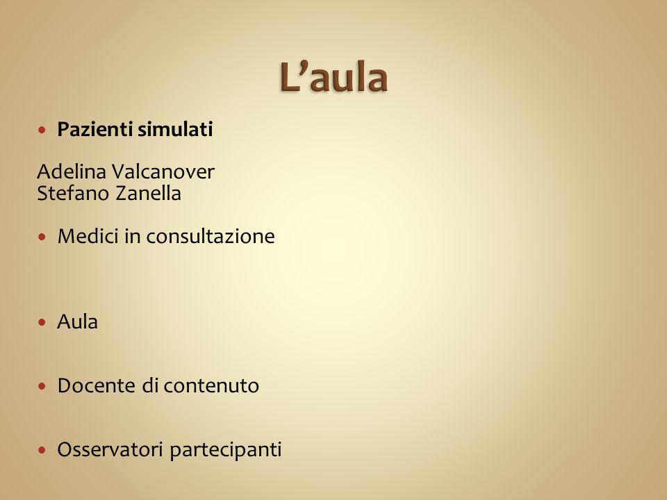 Pazienti simulati Adelina Valcanover Stefano Zanella Medici in consultazione Aula Docente di contenuto Osservatori partecipanti
