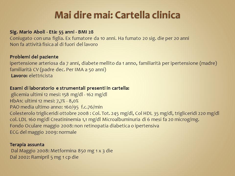 Sig. Mario Aboli - Età: 55 anni - BMI 28 Coniugato con una figlia.