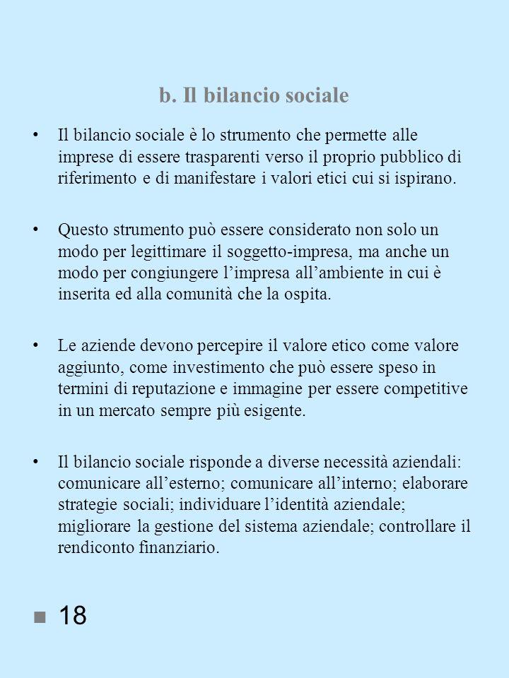 b. Il bilancio sociale Il bilancio sociale è lo strumento che permette alle imprese di essere trasparenti verso il proprio pubblico di riferimento e d