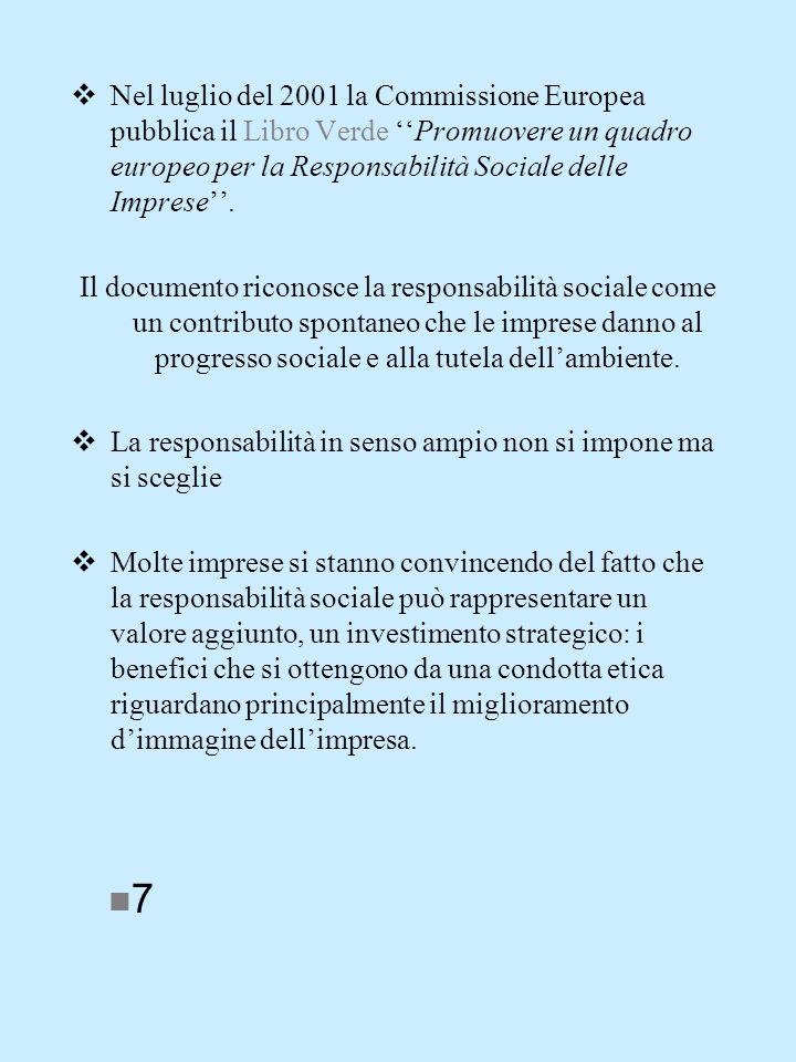 Nel luglio del 2001 la Commissione Europea pubblica il Libro Verde Promuovere un quadro europeo per la Responsabilità Sociale delle Imprese.