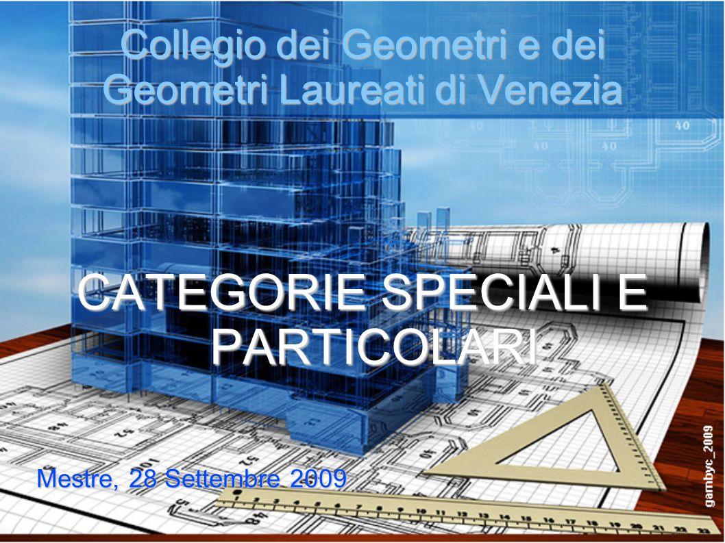 Collegio dei Geometri e dei Geometri Laureati di Venezia CATEGORIE SPECIALI E PARTICOLARI Mestre, 28 Settembre 2009