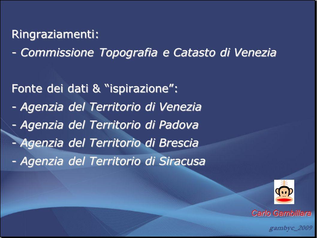 Ringraziamenti: - Commissione Topografia e Catasto di Venezia Fonte dei dati & ispirazione: - Agenzia del Territorio di Venezia - Agenzia del Territor