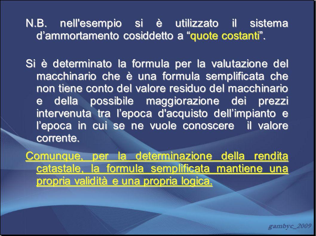 N.B. nell'esempio si è utilizzato il sistema dammortamento cosiddetto a quote costanti. Si è determinato la formula per la valutazione del macchinario