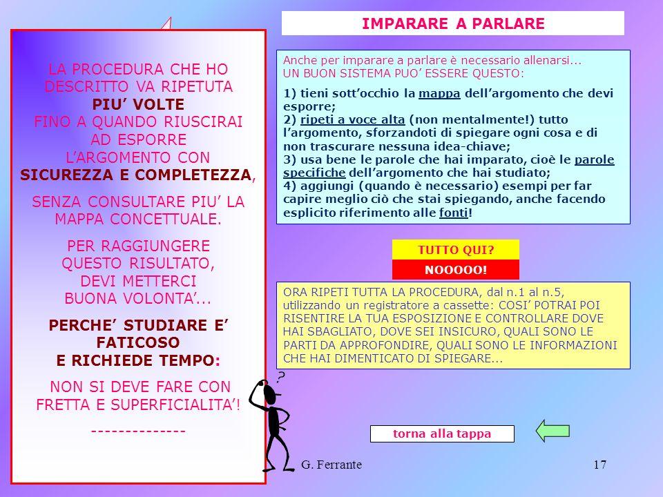 G. Ferrante16 Le mappe concettuali 5 ESEMPI DI MAPPE ARRICCHITE torna alla tappa Cliccami per tornare allinizio. MAPPE ARRICCHITE FINE SEZIONE MAPPE