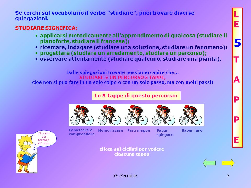 G. Ferrante2 Ti consiglio di iniziare dalle 5 tappe Studiare... in 5 tappe! 10 regole per studiare meglio CONSIGLI FINALI C L I C C A Q U I