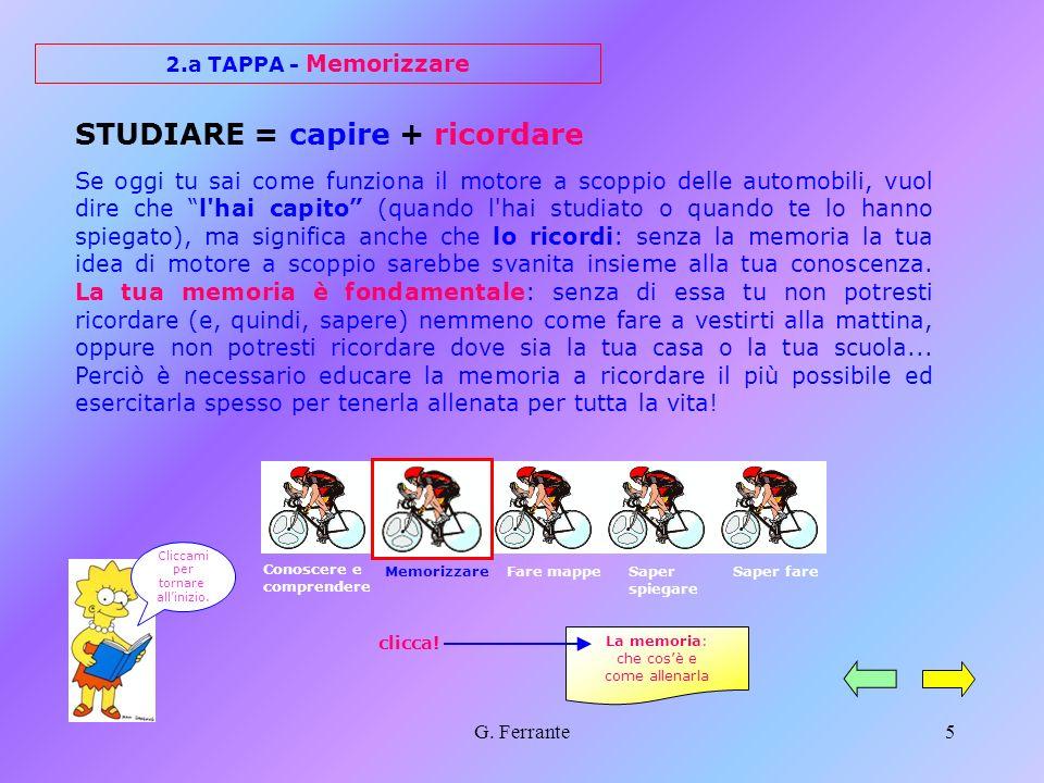G. Ferrante4 1.a TAPPA - Conoscere e comprendere Per cominciare, è sempre necessaria una prima conoscenza di ogni argomento; in seguito, bisogna verif