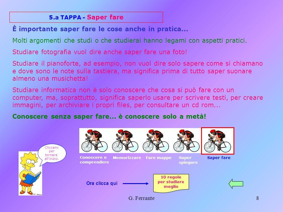 G. Ferrante7 4.a TAPPA - Saper spiegare E importante saper comunicare agli altri in modo comprensibile ciò che sappiamo: ci sono persone molto istruit