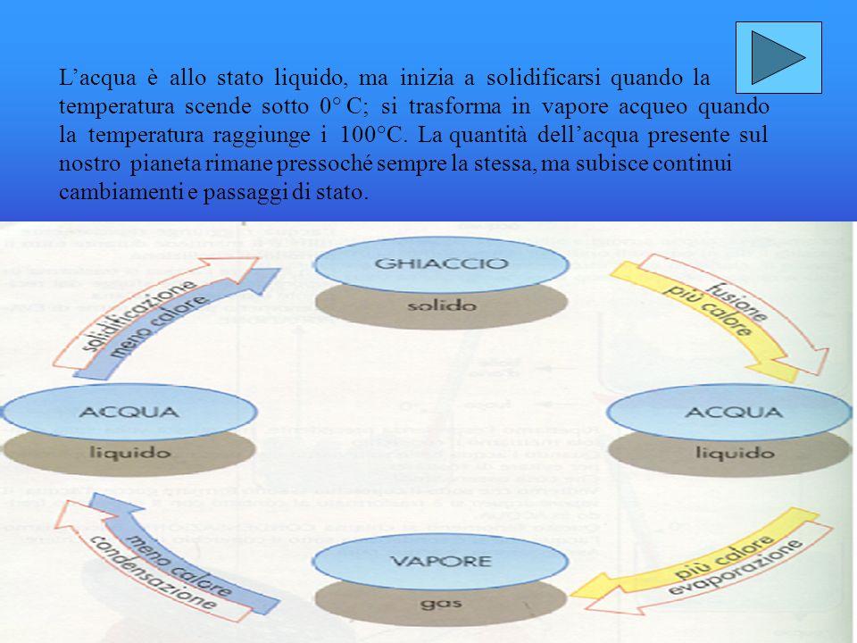 Osservando la figura qui a lato, si può capire che lacqua si può trovare in diversi stati: STATO SOLIDO: Liceberg rappresenta una grande massa dacqua