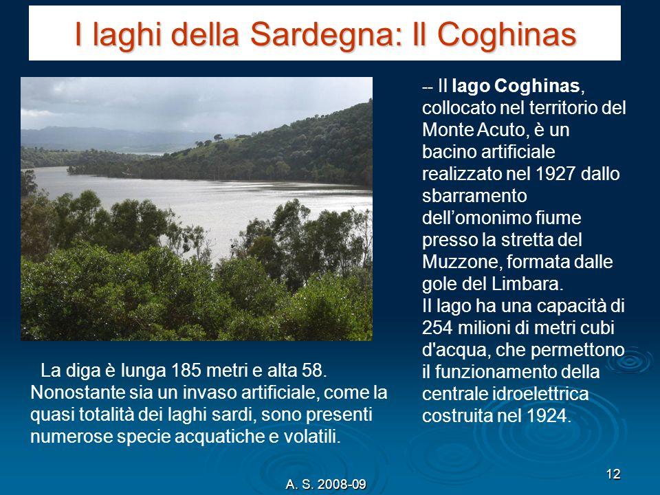 A. S. 2008-09 12 I laghi della Sardegna: Il Coghinas -- Il lago Coghinas, collocato nel territorio del Monte Acuto, è un bacino artificiale realizzato