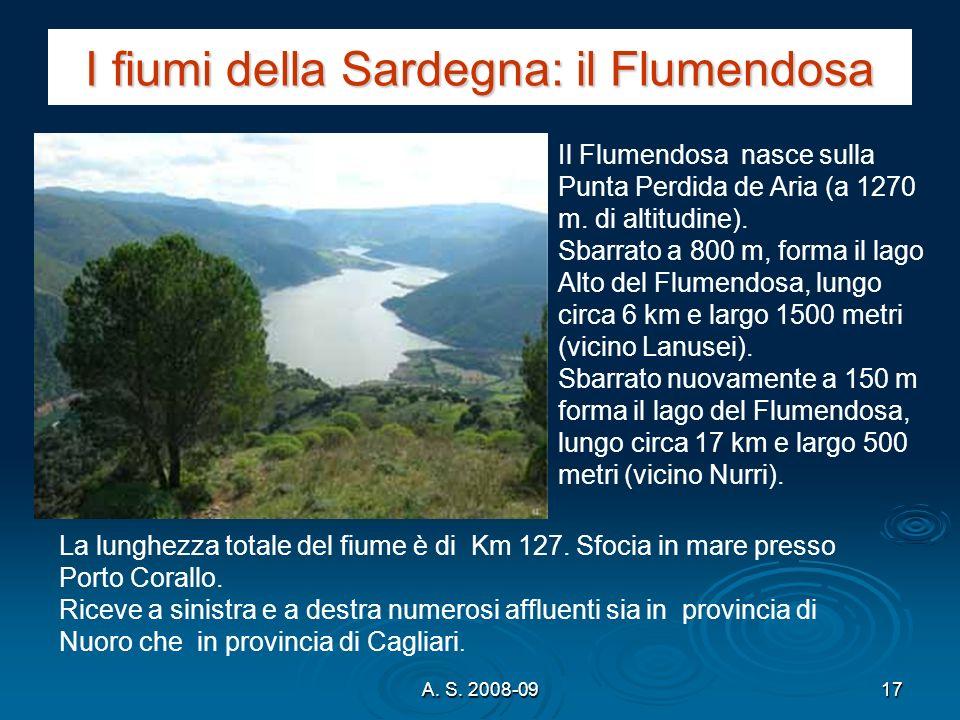 A. S. 2008-0917 I fiumi della Sardegna: il Flumendosa Il Flumendosa nasce sulla Punta Perdida de Aria (a 1270 m. di altitudine). Sbarrato a 800 m, for