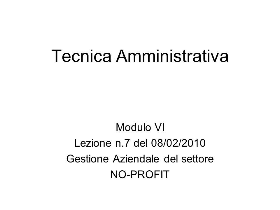 Tecnica Amministrativa Modulo VI Lezione n.7 del 08/02/2010 Gestione Aziendale del settore NO-PROFIT