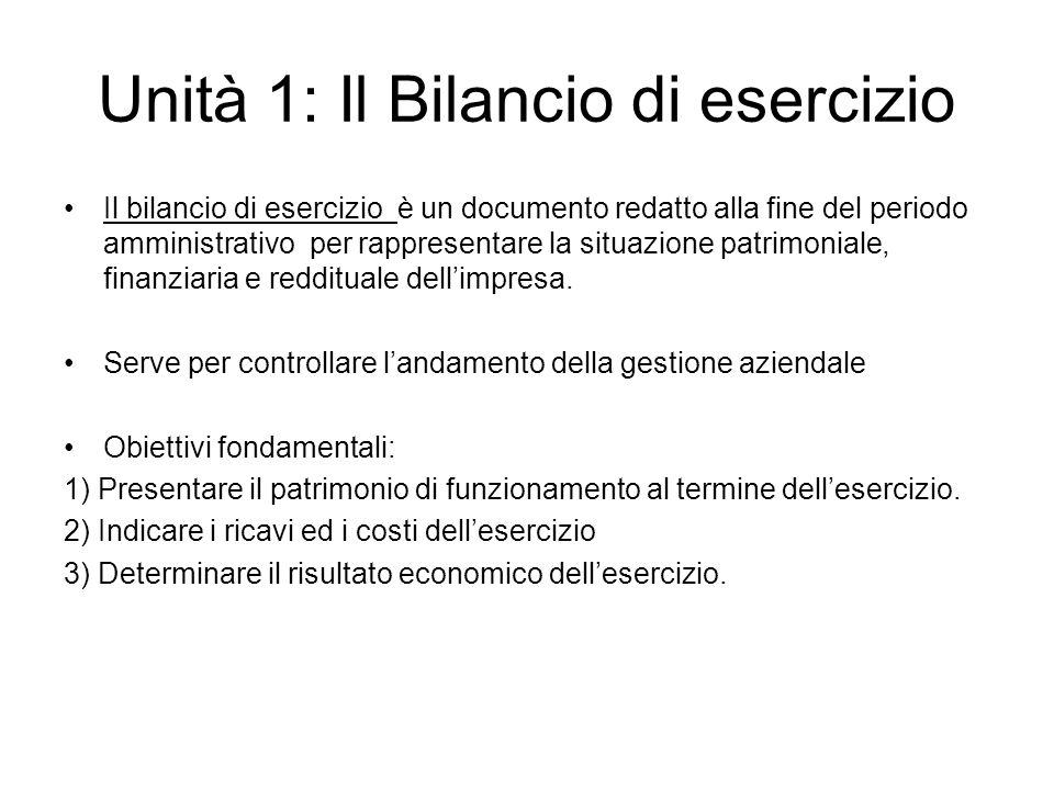 Unità 1: Il Bilancio di esercizio Il bilancio di esercizio è un documento redatto alla fine del periodo amministrativo per rappresentare la situazione