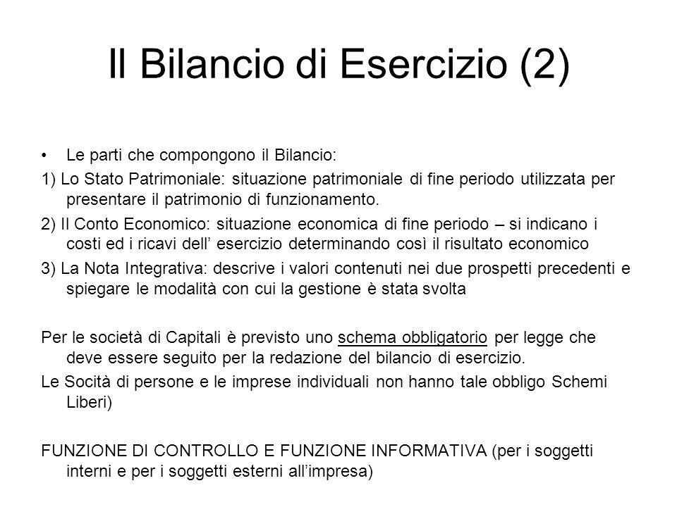 Il Bilancio di Esercizio (2) Le parti che compongono il Bilancio: 1) Lo Stato Patrimoniale: situazione patrimoniale di fine periodo utilizzata per pre