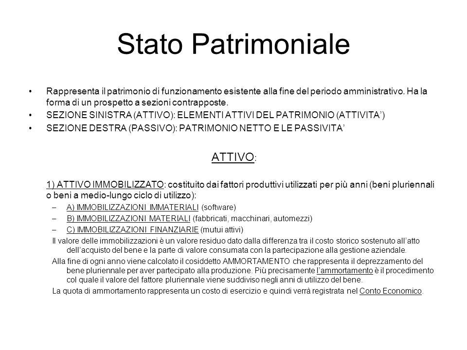 Stato Patrimoniale (2) 2) ATTIVO CIRCOLANTE: costituito dai fattori produttivi di breve durata e dai mezzi già liquidi.