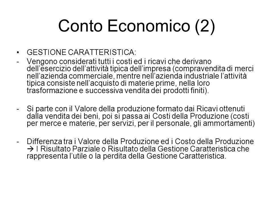 Conto Economico (3) GESTIONE FINANZIARIA -Vengono elencati i proventi (interessi attivi maturati sulle somme di denaro depositate in banca, etc) e gli oneri finanziari (interessi passivi per i prestito ottenuti) -Differenza tra i proventi e gli oneri finanziari II Risultato Parziale o Risultato della Gestione Finanziaria GESTIONE STRAORDINARIA -Differenza tra ricavi straordinari e costi straordinari III Risultato Parziale o Risultato della Gestione Straordinaria.