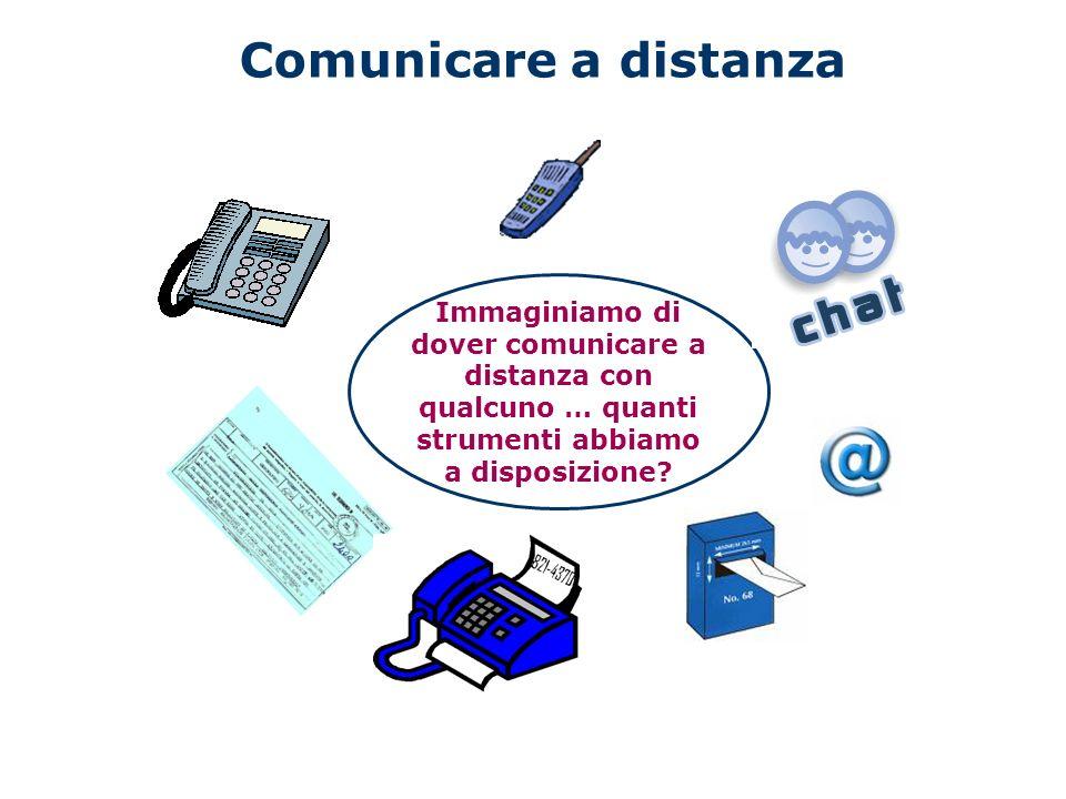Comunicare a distanza Immaginiamo di dover comunicare a distanza con qualcuno … quanti strumenti abbiamo a disposizione?