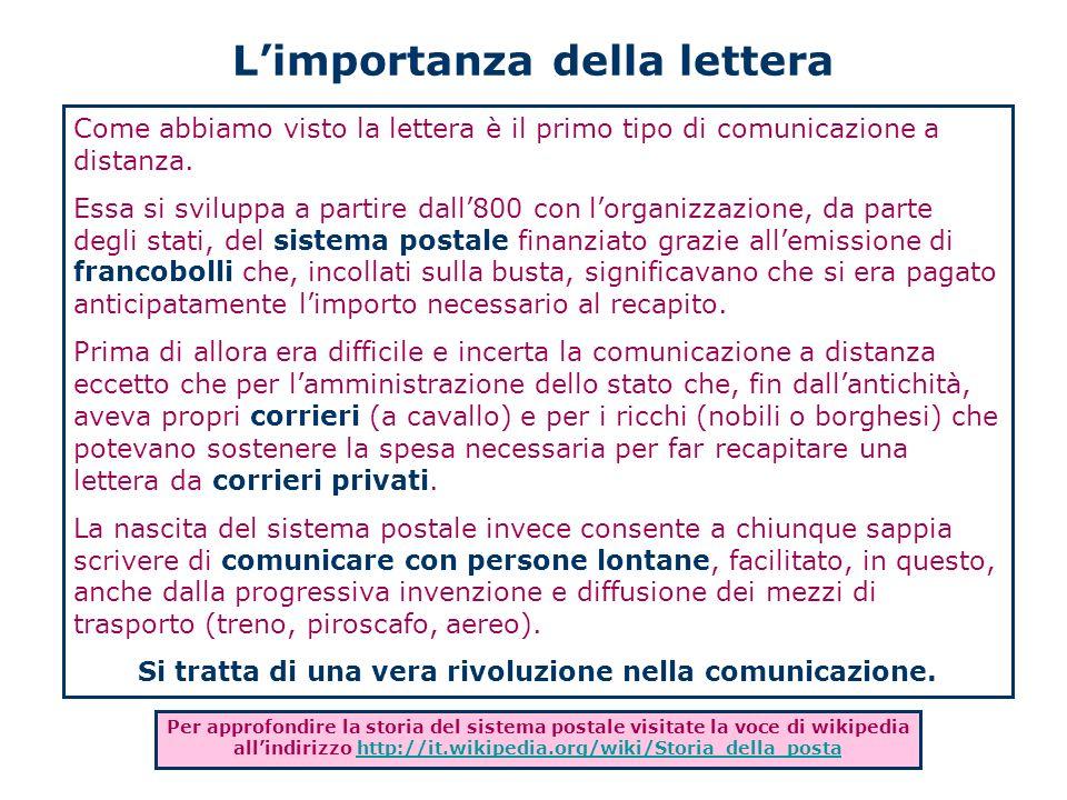 Limportanza della lettera Come abbiamo visto la lettera è il primo tipo di comunicazione a distanza. Essa si sviluppa a partire dall800 con lorganizza
