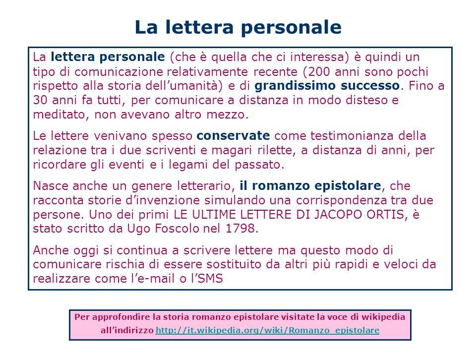 La lettera personale La lettera personale (che è quella che ci interessa) è quindi un tipo di comunicazione relativamente recente (200 anni sono pochi