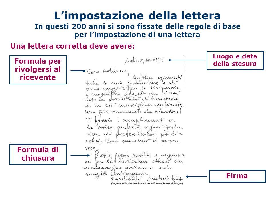 Limpostazione della lettera In questi 200 anni si sono fissate delle regole di base per limpostazione di una lettera Una lettera corretta deve avere: