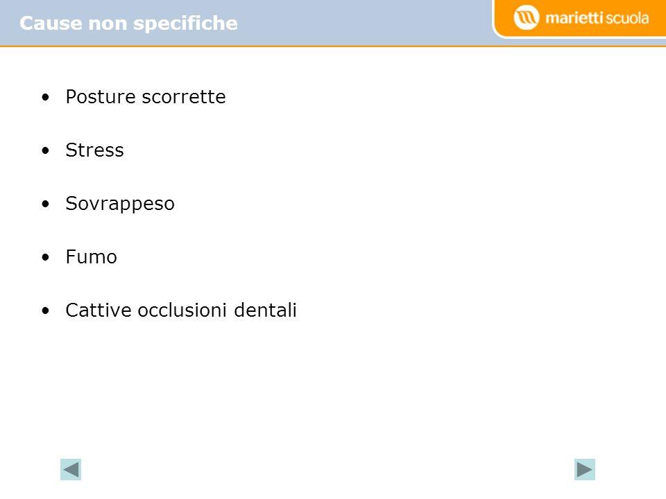 Posture scorrette Stress Sovrappeso Fumo Cattive occlusioni dentali Cause non specifiche