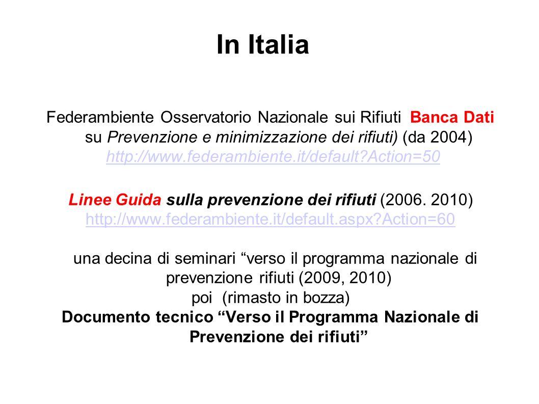 In Italia Federambiente Osservatorio Nazionale sui Rifiuti Banca Dati su Prevenzione e minimizzazione dei rifiuti) (da 2004) http://www.federambiente.it/default Action=50 Linee Guida sulla prevenzione dei rifiuti (2006.