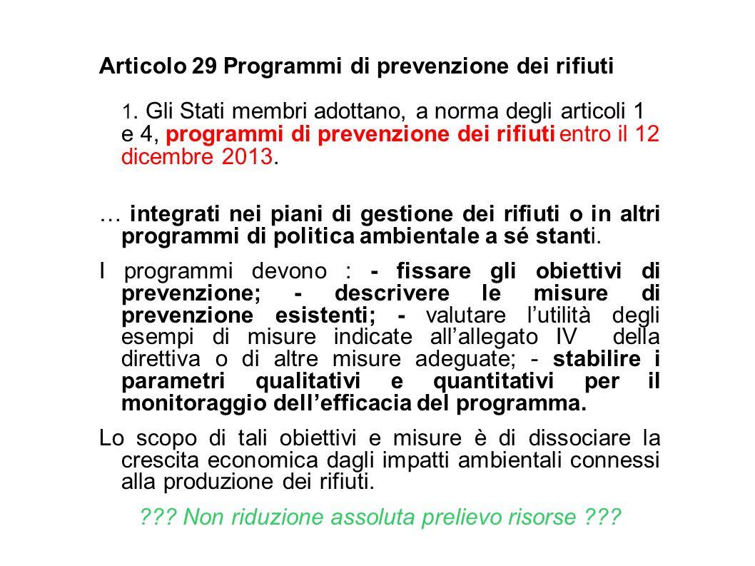 Articolo 29 Programmi di prevenzione dei rifiuti 1. Gli Stati membri adottano, a norma degli articoli 1 e 4, programmi di prevenzione dei rifiuti entr