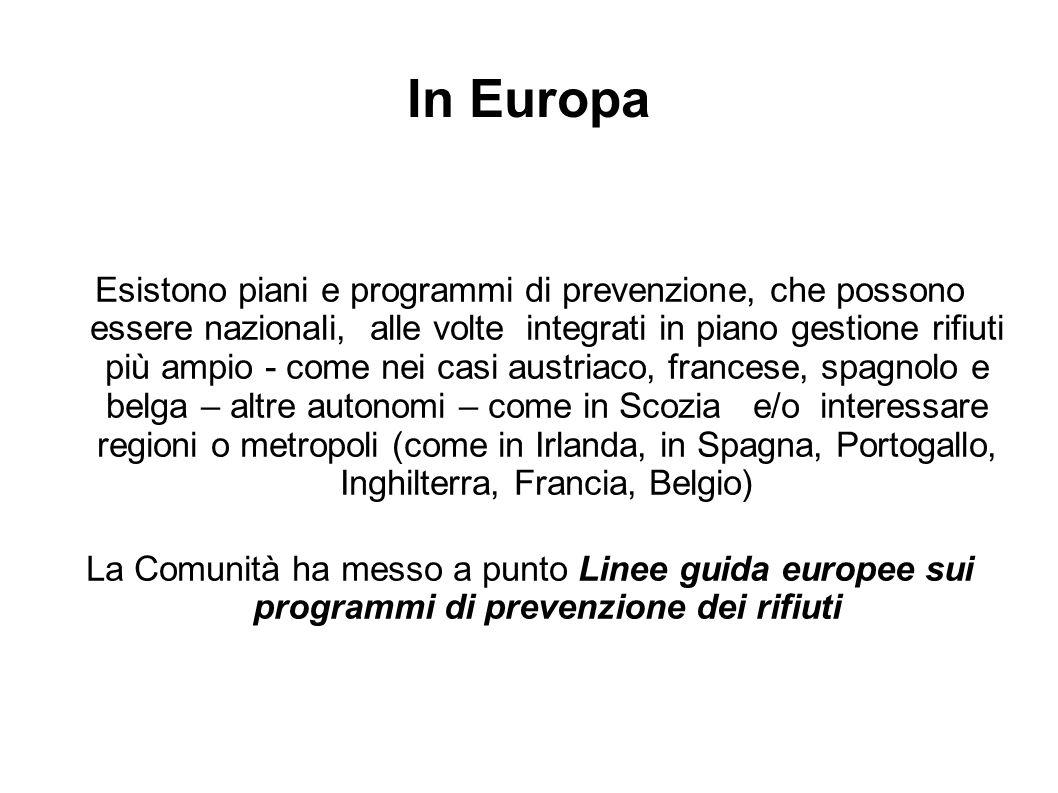 In Europa Esistono piani e programmi di prevenzione, che possono essere nazionali, alle volte integrati in piano gestione rifiuti più ampio - come nei