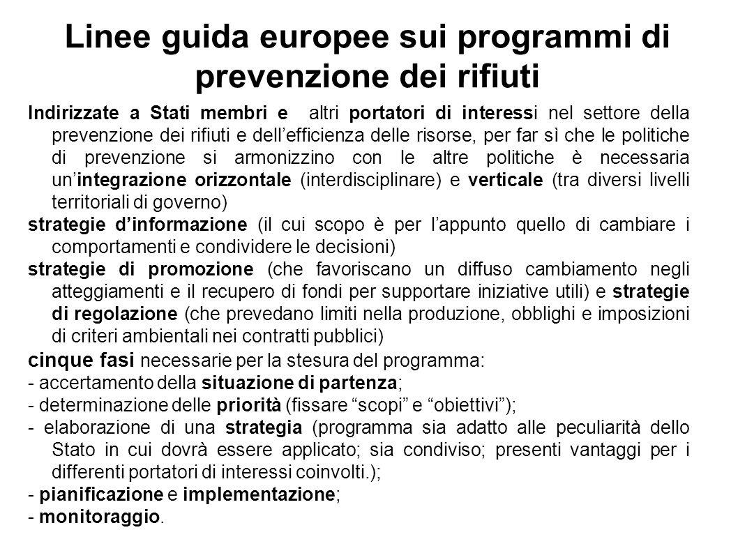 Linee guida europee sui programmi di prevenzione dei rifiuti Indirizzate a Stati membri e altri portatori di interessi nel settore della prevenzione dei rifiuti e dellefficienza delle risorse, per far sì che le politiche di prevenzione si armonizzino con le altre politiche è necessaria unintegrazione orizzontale (interdisciplinare) e verticale (tra diversi livelli territoriali di governo) strategie dinformazione (il cui scopo è per lappunto quello di cambiare i comportamenti e condividere le decisioni) strategie di promozione (che favoriscano un diffuso cambiamento negli atteggiamenti e il recupero di fondi per supportare iniziative utili) e strategie di regolazione (che prevedano limiti nella produzione, obblighi e imposizioni di criteri ambientali nei contratti pubblici) cinque fasi necessarie per la stesura del programma: - accertamento della situazione di partenza; - determinazione delle priorità (fissare scopi e obiettivi); - elaborazione di una strategia (programma sia adatto alle peculiarità dello Stato in cui dovrà essere applicato; sia condiviso; presenti vantaggi per i differenti portatori di interessi coinvolti.); - pianificazione e implementazione; - monitoraggio.
