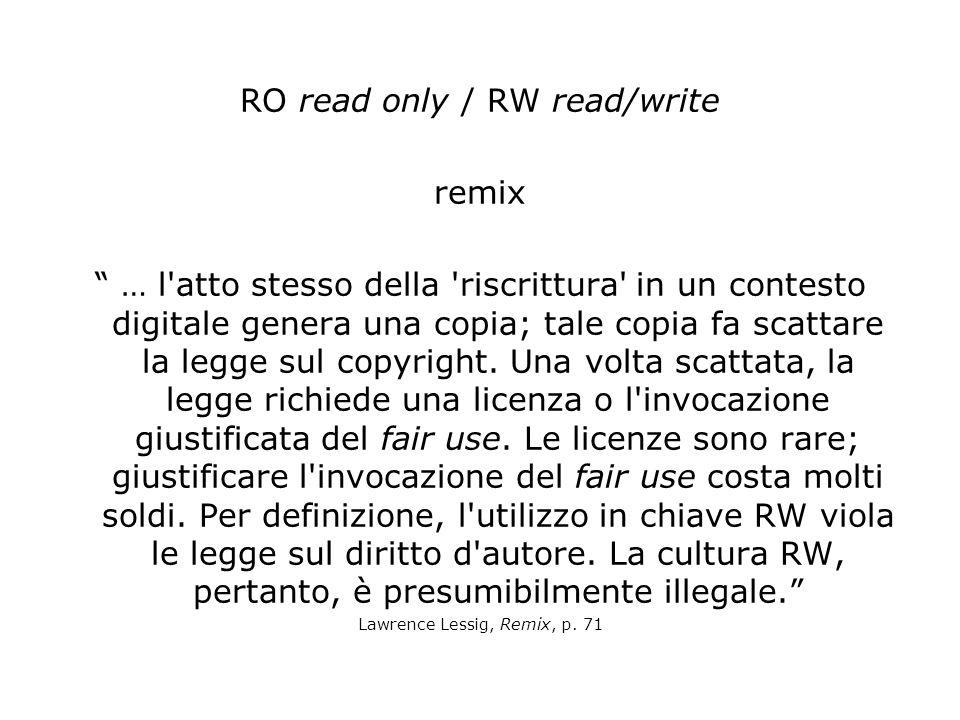 RO read only / RW read/write remix … l atto stesso della riscrittura in un contesto digitale genera una copia; tale copia fa scattare la legge sul copyright.