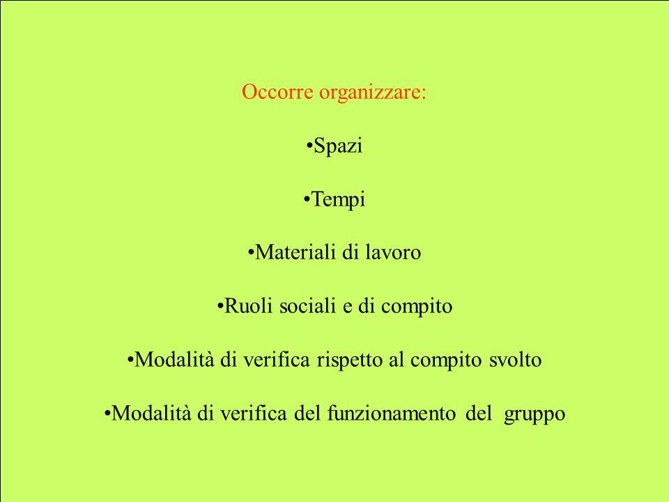 Occorre organizzare: Spazi Tempi Materiali di lavoro Ruoli sociali e di compito Modalità di verifica rispetto al compito svolto Modalità di verifica del funzionamento del gruppo