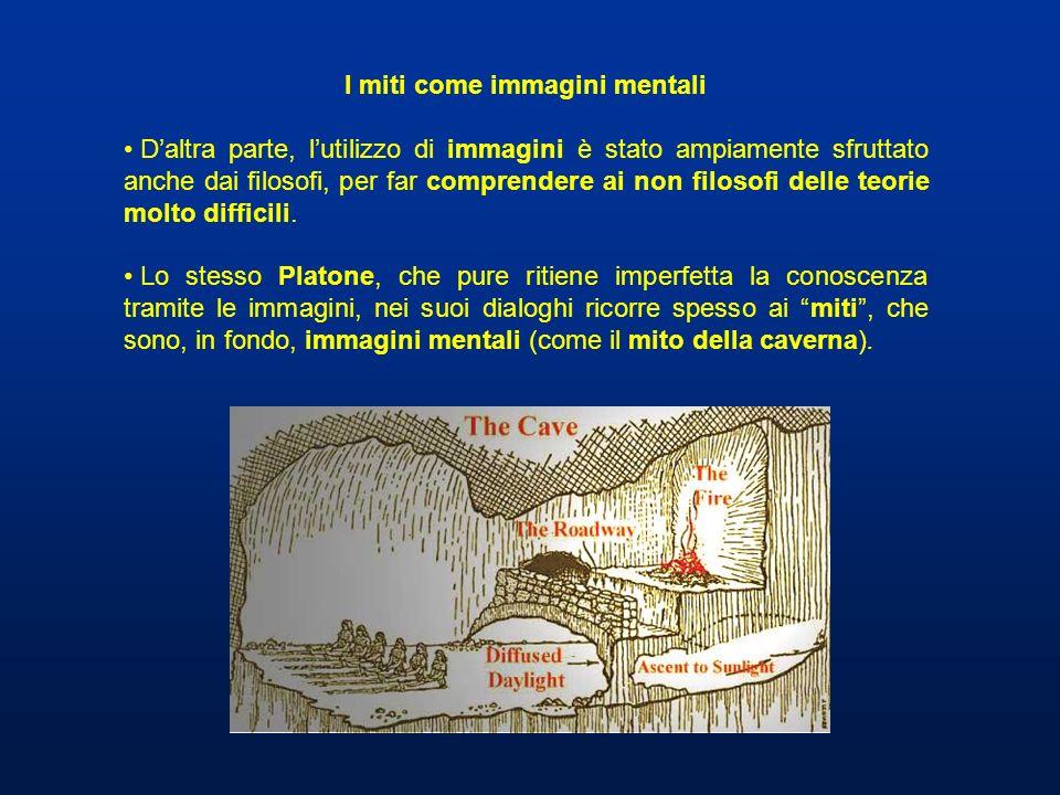 I miti come immagini mentali Daltra parte, lutilizzo di immagini è stato ampiamente sfruttato anche dai filosofi, per far comprendere ai non filosofi