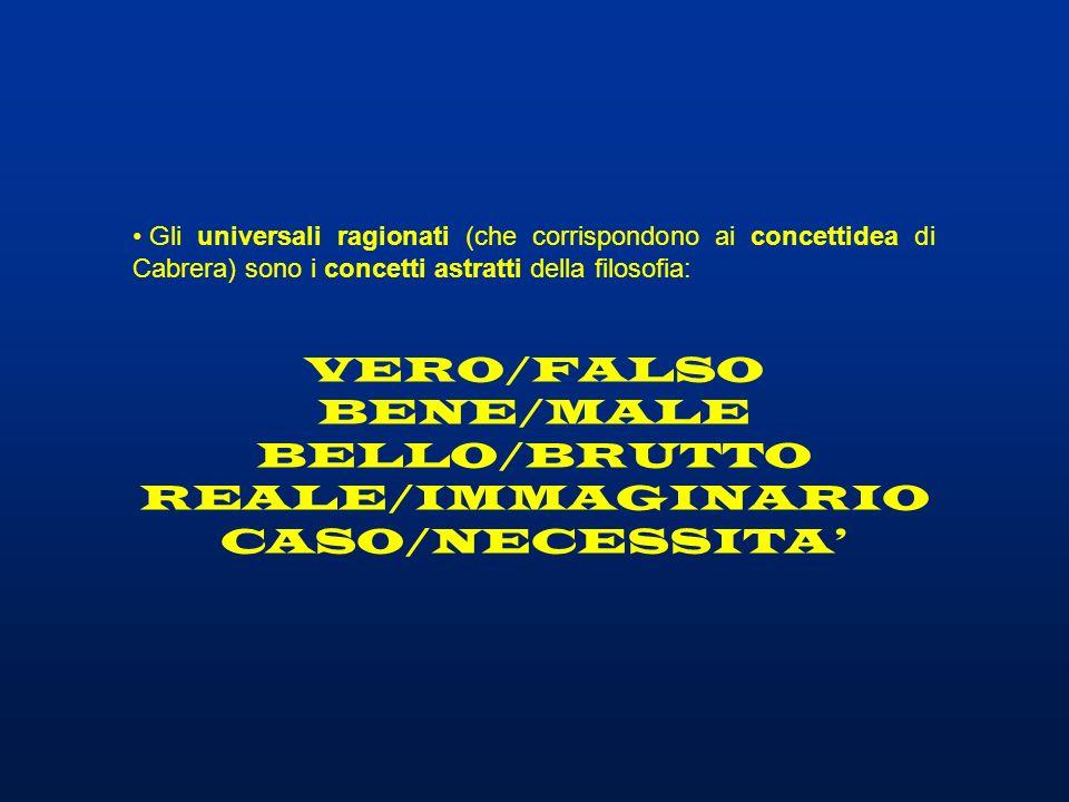 Gli universali ragionati (che corrispondono ai concettidea di Cabrera) sono i concetti astratti della filosofia: VERO/FALSO BENE/MALE BELLO/BRUTTO REA