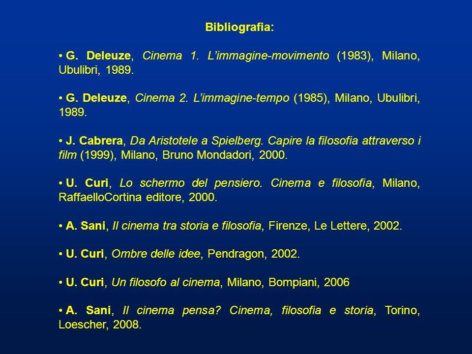 Bibliografia: G. Deleuze, Cinema 1. Limmagine-movimento (1983), Milano, Ubulibri, 1989. G. Deleuze, Cinema 2. Limmagine-tempo (1985), Milano, Ubulibri