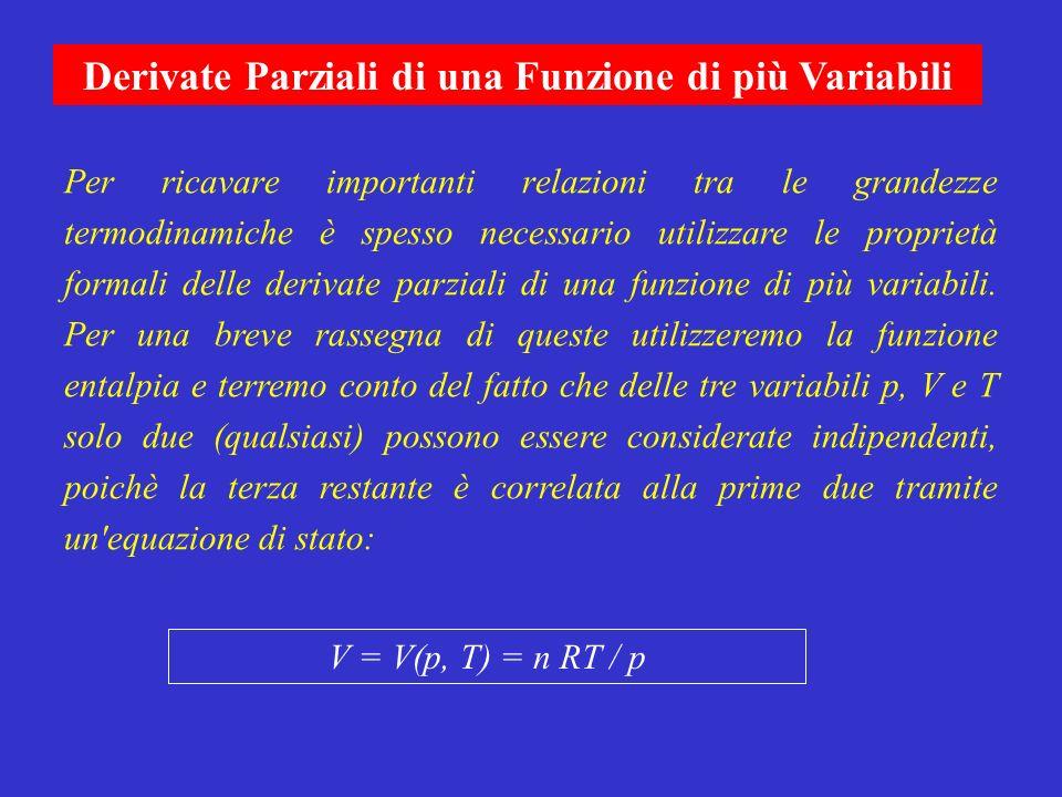 Per ricavare importanti relazioni tra le grandezze termodinamiche è spesso necessario utilizzare le proprietà formali delle derivate parziali di una f