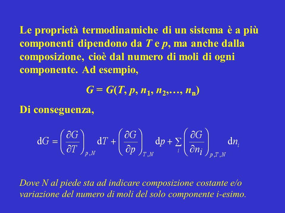 Le proprietà termodinamiche di un sistema è a più componenti dipendono da T e p, ma anche dalla composizione, cioè dal numero di moli di ogni componen