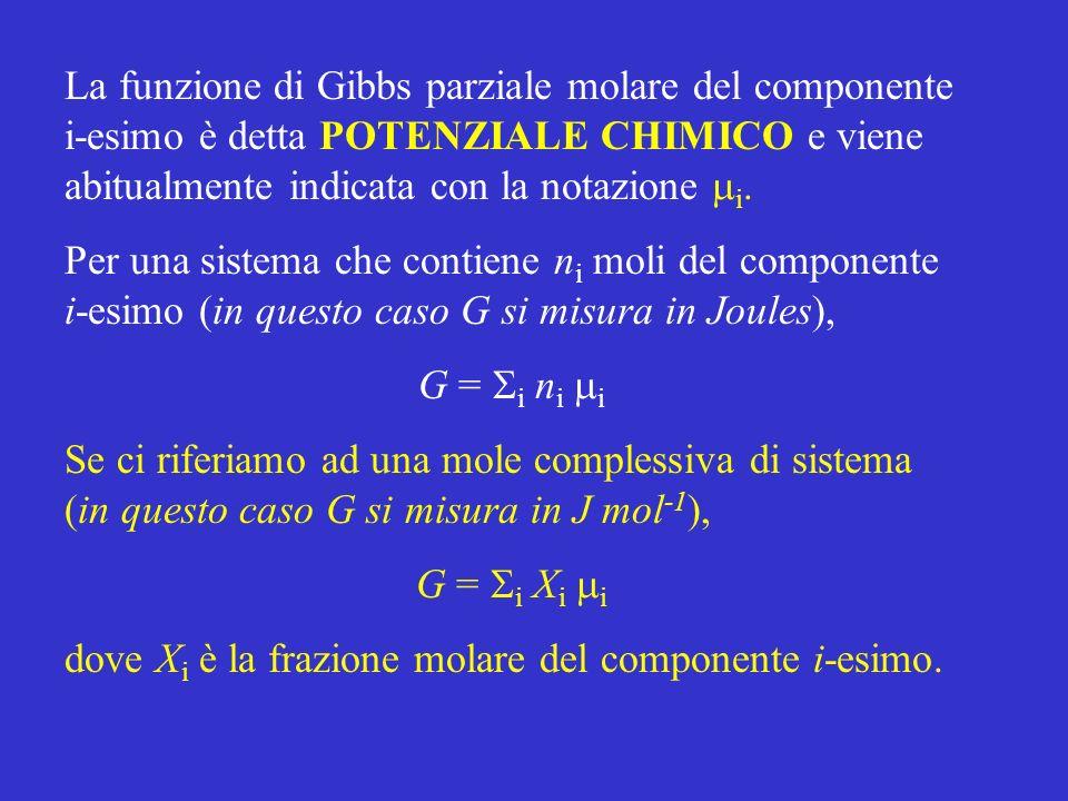 La funzione di Gibbs parziale molare del componente i-esimo è detta POTENZIALE CHIMICO e viene abitualmente indicata con la notazione i. Per una siste