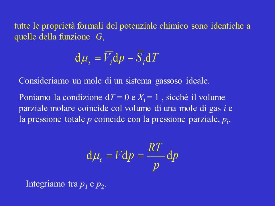 tutte le proprietà formali del potenziale chimico sono identiche a quelle della funzione G, Consideriamo un mole di un sistema gassoso ideale. Poniamo