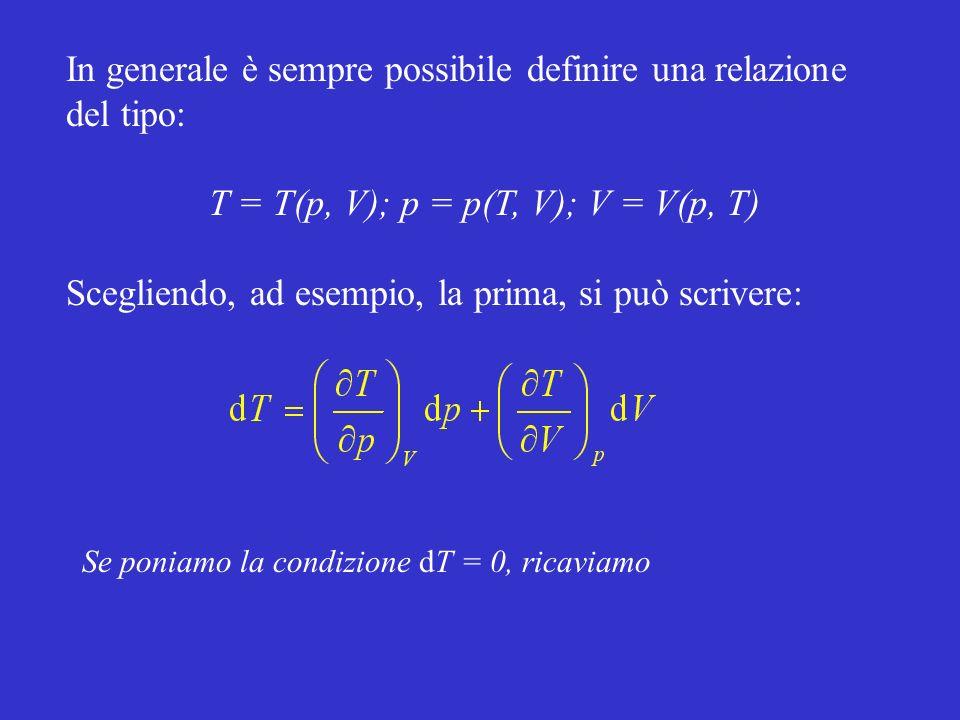 In generale è sempre possibile definire una relazione del tipo: T = T(p, V); p = p(T, V); V = V(p, T) Scegliendo, ad esempio, la prima, si può scriver