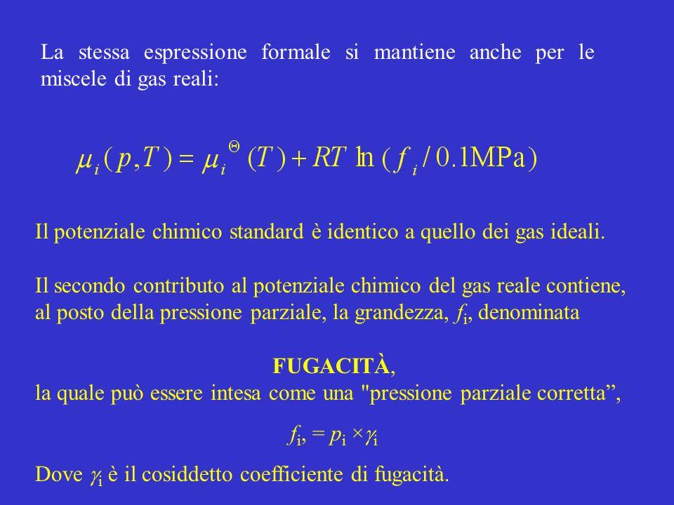 La stessa espressione formale si mantiene anche per le miscele di gas reali: Il potenziale chimico standard è identico a quello dei gas ideali. Il sec