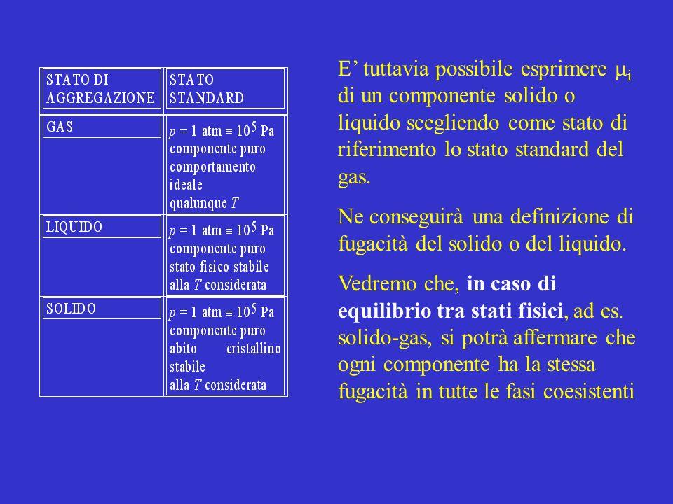 E tuttavia possibile esprimere i di un componente solido o liquido scegliendo come stato di riferimento lo stato standard del gas. Ne conseguirà una d