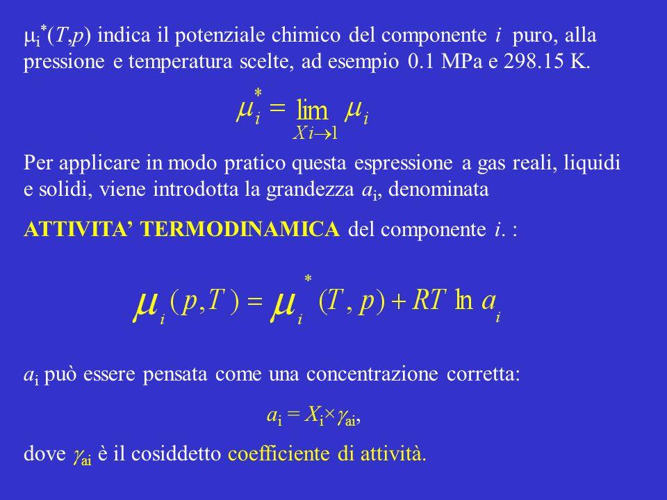 i * (T,p) indica il potenziale chimico del componente i puro, alla pressione e temperatura scelte, ad esempio 0.1 MPa e 298.15 K. a i può essere pensa