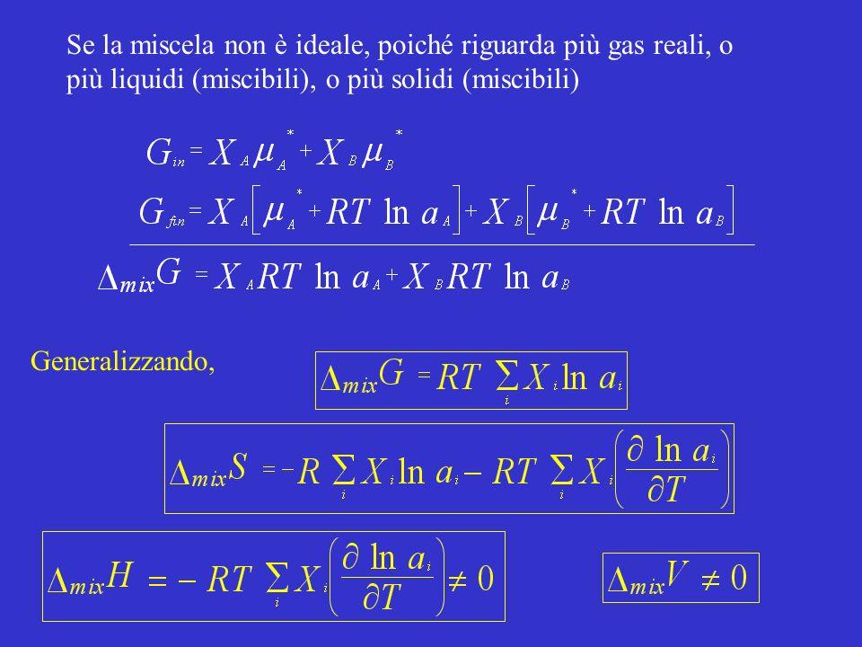 Se la miscela non è ideale, poiché riguarda più gas reali, o più liquidi (miscibili), o più solidi (miscibili) Generalizzando,