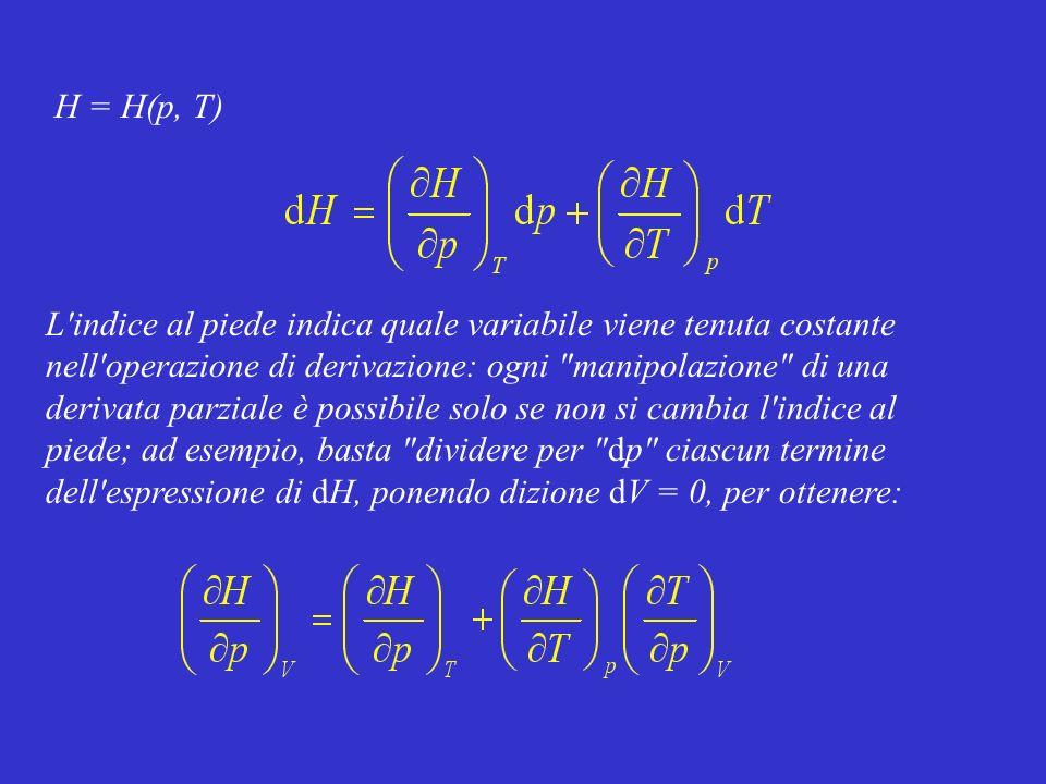 H = H(p, T) L'indice al piede indica quale variabile viene tenuta costante nell'operazione di derivazione: ogni