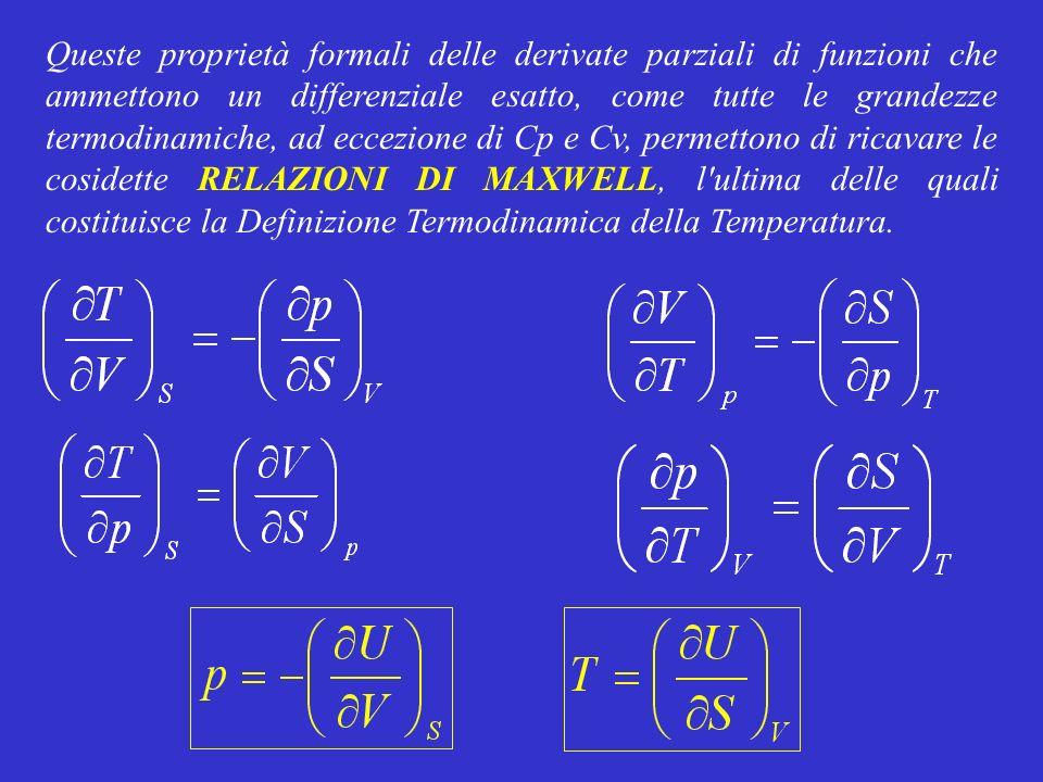 Queste proprietà formali delle derivate parziali di funzioni che ammettono un differenziale esatto, come tutte le grandezze termodinamiche, ad eccezio