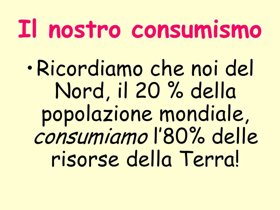 Il nostro consumismo Ricordiamo che noi del Nord, il 20 % della popolazione mondiale, consumiamo l80% delle risorse della Terra!