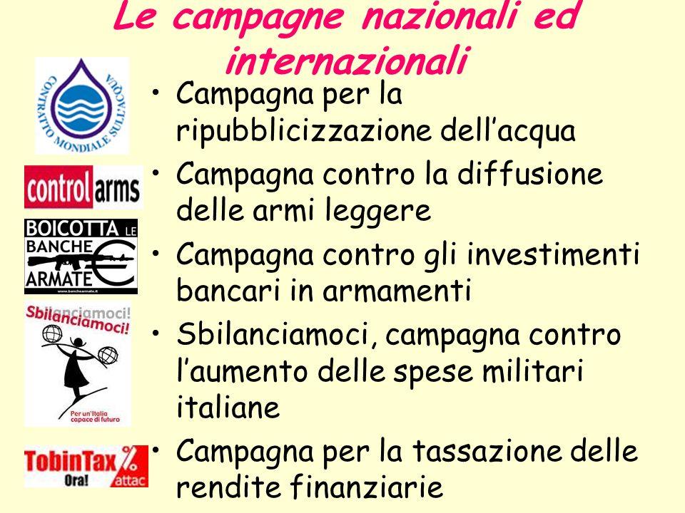 Le campagne nazionali ed internazionali Campagna per la ripubblicizzazione dellacqua Campagna contro la diffusione delle armi leggere Campagna contro